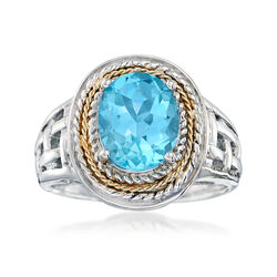 3.50 Carat Blue Topaz Woven Ring in Sterling Silver and 14kt Yellow Gold, , default