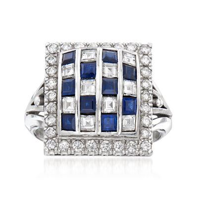 C. 1950 Vintage .95 ct. t.w. Diamond and .82 ct. t.w. Sapphire Checkerboard Ring in Platinum