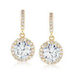 1.80 ct. t.w. CZ Halo Drop Earrings in 14kt Yellow Gold , , default