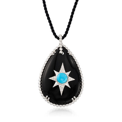 Black Onyx, Turquoise and White Topaz Star Necklace in Sterling Silver with a Black Silk Cord, , default