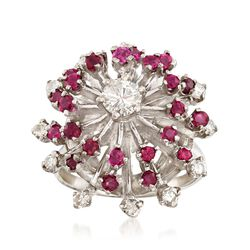 C. 1970 Vintage .85 ct. t.w. Ruby and .70 ct. t.w. Diamond Spray Cluster Ring in 14kt White Gold. Size 6, , default