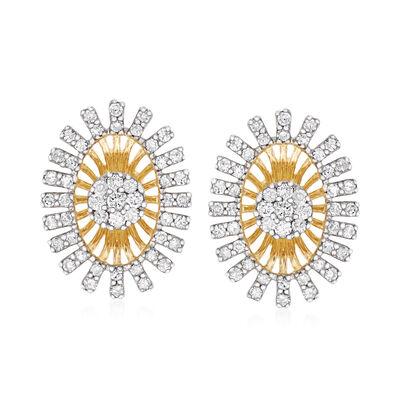 .55 ct. t.w. Diamond Burst Earrings in 14kt Yellow Gold
