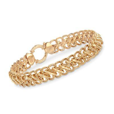 14kt Gold Over Sterling Mixed Link Bracelet, , default