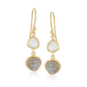 Moonstone and Labradorite Drop Earrings in 14kt Gold Over Sterling, , default