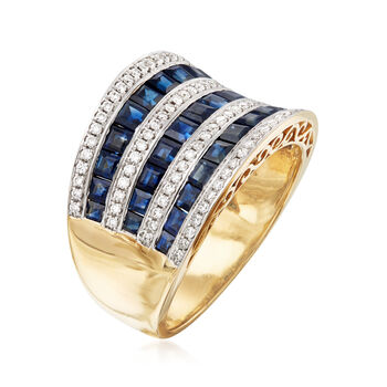 2.75 ct. t.w. Sapphire and .34 ct. t.w. Diamond Ring in 18kt Yellow Gold. Size 5