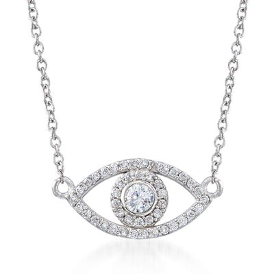 .35 ct. t.w. CZ Evil Eye Necklace in Sterling Silver, , default