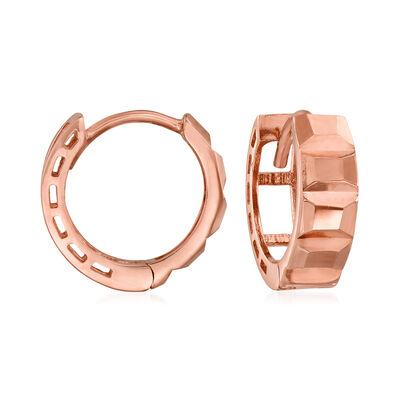 14kt Rose Gold Textural Huggie Hoop Earrings