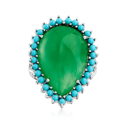 Green Jade and Simulated Turquoise Cocktail Ring in Sterling Silver