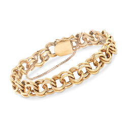 C. 1960 14kt Yellow Gold Double Ring Link Bracelet, , default
