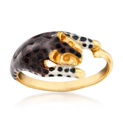 Leopard Enamel Ring in 18kt Yellow Gold Over Sterling Silver