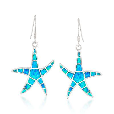 Blue Synthetic Opal Starfish Drop Earrings in Sterling Silver, , default