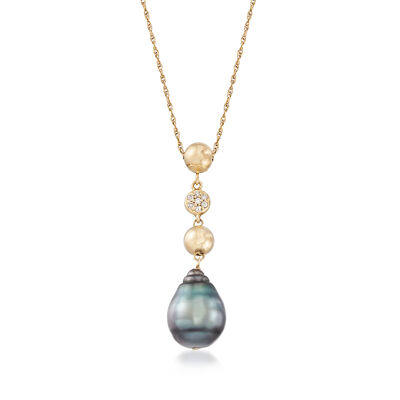 9-11mm Black Cultured Tahitian Pearl Necklace With Diamond Accents in 14kt Yellow Gold, , default