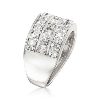 2.00 ct. t.w. Round and Baguette Diamond Ring in Sterling Silver, , default