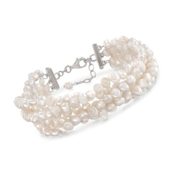"""Cultured Pearl Multi-Strand Twist Bracelet With Sterling Silver Clasp. 8"""", , default"""