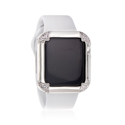 .66 ct. t.w. CZ Apple-Inspired Bezel Watch Case in Silver-Plated Brass