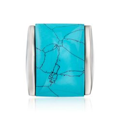 Turquoise Ring in Stainless Steel. Size 6, , default