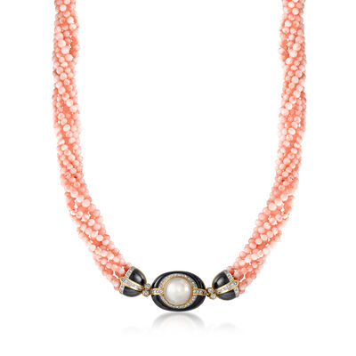 C. 1980 Vintage 3.5mm Pink Coral and 1.20 ct. t.w. Diamond Torsade Necklace with Black Onyx and 18kt Gold, , default