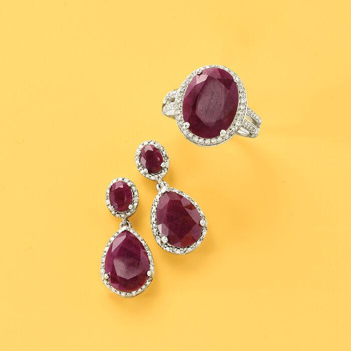 12.90 ct. t.w. Ruby and .35 ct. t.w. Diamond Drop Earrings in Sterling Silver