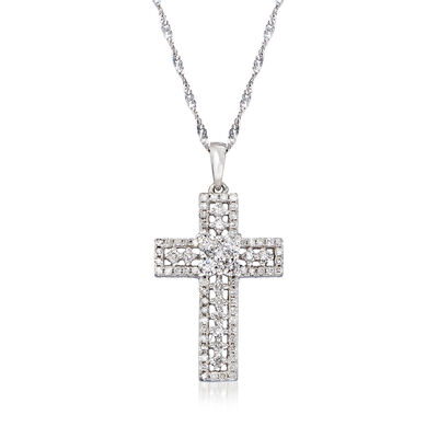 .47 ct. t.w. Diamond Cross Pendant Necklace in 14kt White Gold