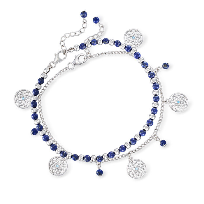 Lapis Bead Jewelry Set: Two Charm Anklets in Sterling Silver
