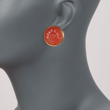 C. 1980 Vintage 20mm Carved Carnelian Floral Clip-On Earrings in 18kt Yellow Gold , , default
