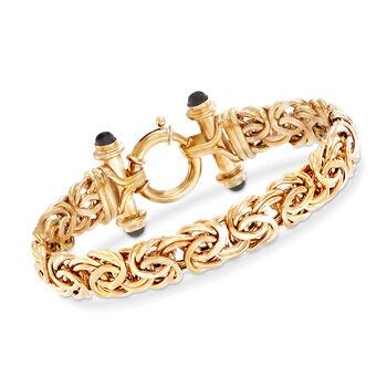 Black Onyx Byzantine Bracelet in 14kt Yellow Gold, , default