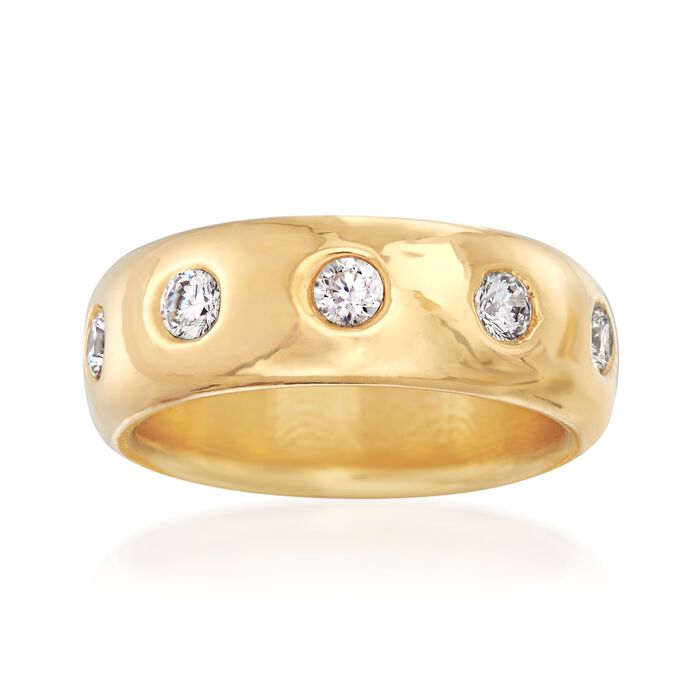 Italian Andiamo 14kt Yellow Gold and 1.00 ct. t.w. CZ Eternity Ring