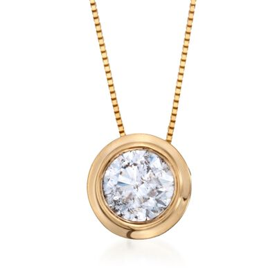 1.00 ct. t.w. Bezel-Set Diamond Solitaire Necklace in 14kt Yellow Gold, , default
