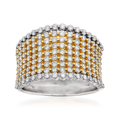 1.50 ct. t.w. Yellow and White Diamond Ring in 14kt White Gold and 18kt Yellow Gold
