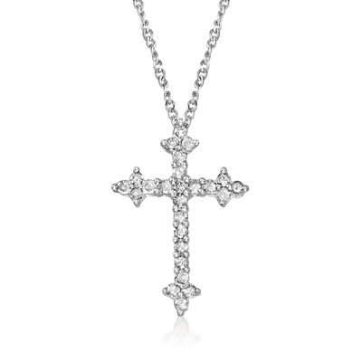.25 ct. t.w. Diamond Cross Pendant Necklace in Sterling Silver, , default