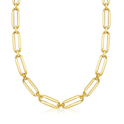Necklaces. Image Featuring Italian 14kt Yellow Gold Paper Clip Link Necklace # 929347