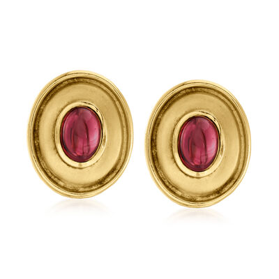 C. 1980 Vintage 4.40 ct. t.w. Rhodolite Garnet Oval-Shaped Earrings in 18kt Yellow Gold