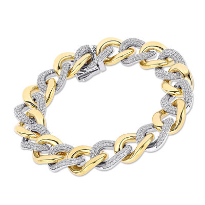 3.25 ct. t.w. Diamond Curb-Link Bracelet in 14kt Two-Tone Gold