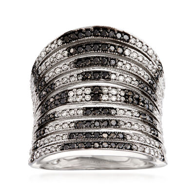 1.00 ct. t.w. Black and White Diamond Open-Space Multi-Row Ring in 14kt White Gold