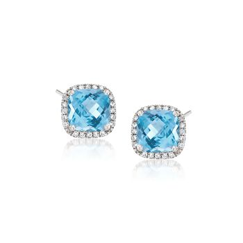 2.40 ct. t.w. Blue Topaz and .12 ct. t.w. Diamond Earrings in 14kt White Gold, , default