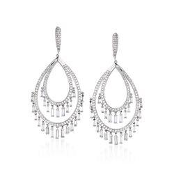 6.63 ct. t.w. Diamond Oval Tassel Drop Earrings in 18kt White Gold, , default