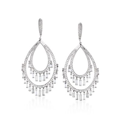 6.63 ct. t.w. Diamond Oval Tassel Drop Earrings in 18kt White Gold, , default