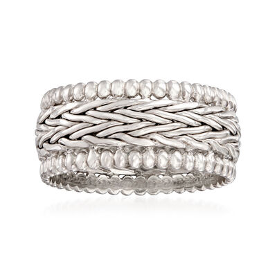 Sterling Silver Wheat-Link and Beaded Ring, , default