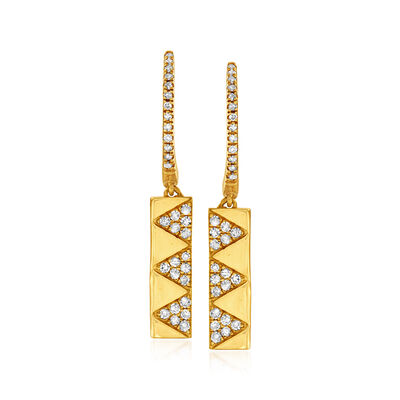 .30 ct. t.w. Pave Diamond Bar Drop Earrings in 14kt Yellow Gold