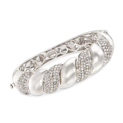 6.95 ct. t.w. Diamond Twisted Bangle Bracelet in 14kt White Gold, , default