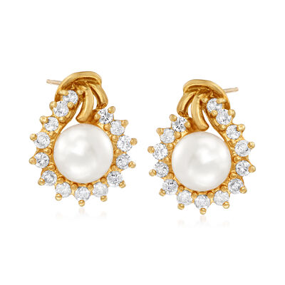 C. 1990 Vintage 6.5mm Cultured Pearl and .75 ct. t.w. Diamond Earrings in 14kt Yellow Gold, , default