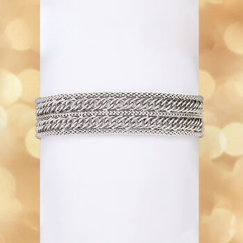 Italian Sterling Silver Popcorn Chain and Curb-Link Bracelet, , default