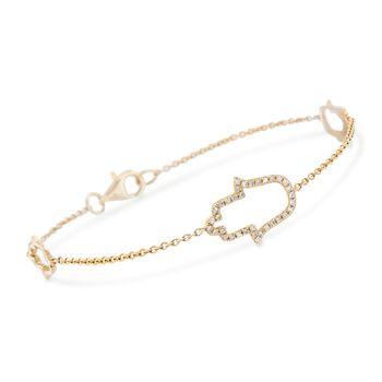 "14kt Yellow Gold Hamsa Hand Bracelet. 7"", , default"