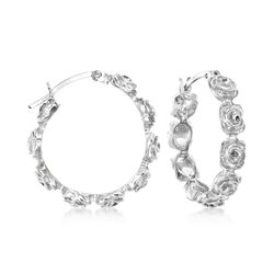"Sterling Silver Floral Hoop Earrings. 1"", , default"