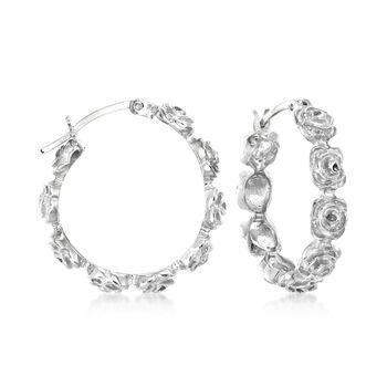 """Sterling Silver Floral Hoop Earrings. 1"""", , default"""