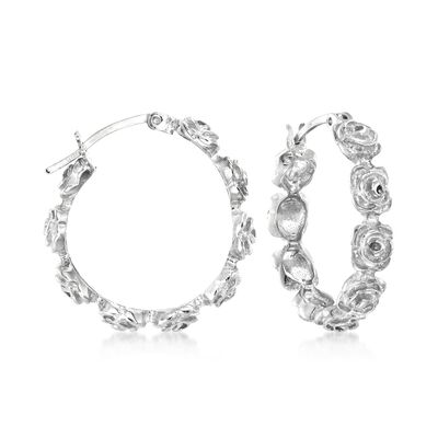 Sterling Silver Floral Hoop Earrings, , default