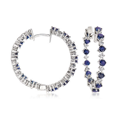 4.50 ct. t.w. Sapphire and .92 ct. t.w. Diamond Inside-Outside Hoop Earrings in 14kt White Gold