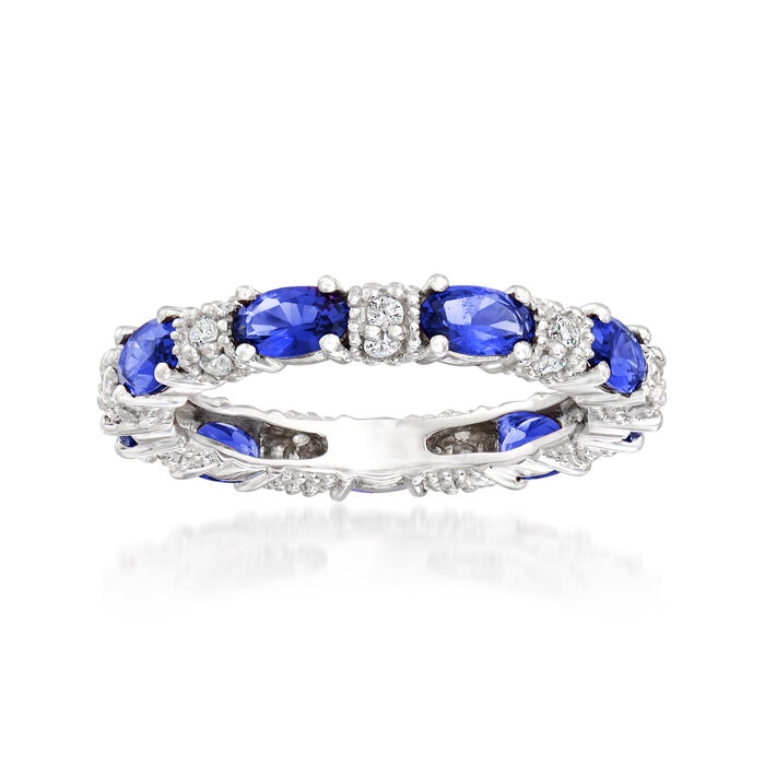 2.00 ct. t.w. Simulated Sapphire and .30 ct. t.w. CZ Eternity Band in Sterling Silver