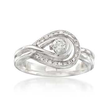 C. 1980 Vintage .36 ct. t.w. Diamond Buckle Loop Ring in 10kt White Gold. Size 6.75, , default