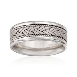 Men's 8.5mm 14kt White Gold Comfort-Fit Woven Wedding Ring. Size 10, , default